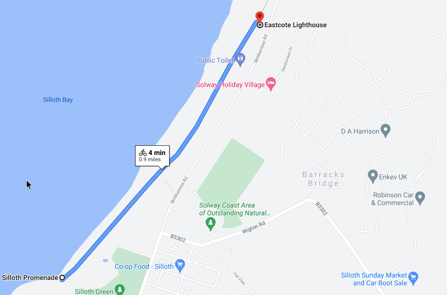 Silloth Promenade to Eastcote Lighthouse,